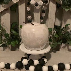 Farmhouse white ceramic Apple decor